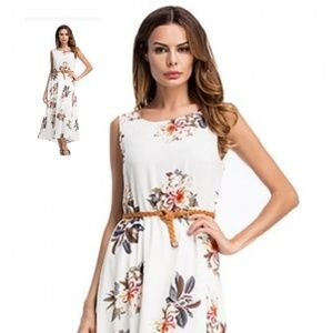 Dresses & Skirts - Gorgeous flower printed white dress